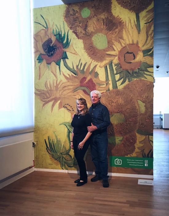 "A reproduction of the ""Sunflowers"", where people can take pictures (the Van Gogh has a strict no-pictures policy)"