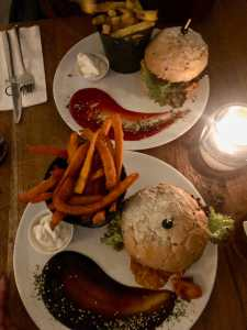 Vegan burgers at Meatless District