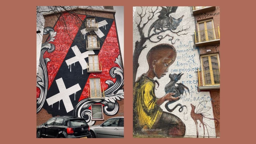 On the image: two street-art murals on the Transvaaltbuurt neighborhood in Amsterdam. Left side: the three crosses of Amsterdam. Right side: a child holding a little dragon, and surrounded by other magic creatures. The words: When It Comes To Settling Disputes Compassion Is More Useful Than Magic.